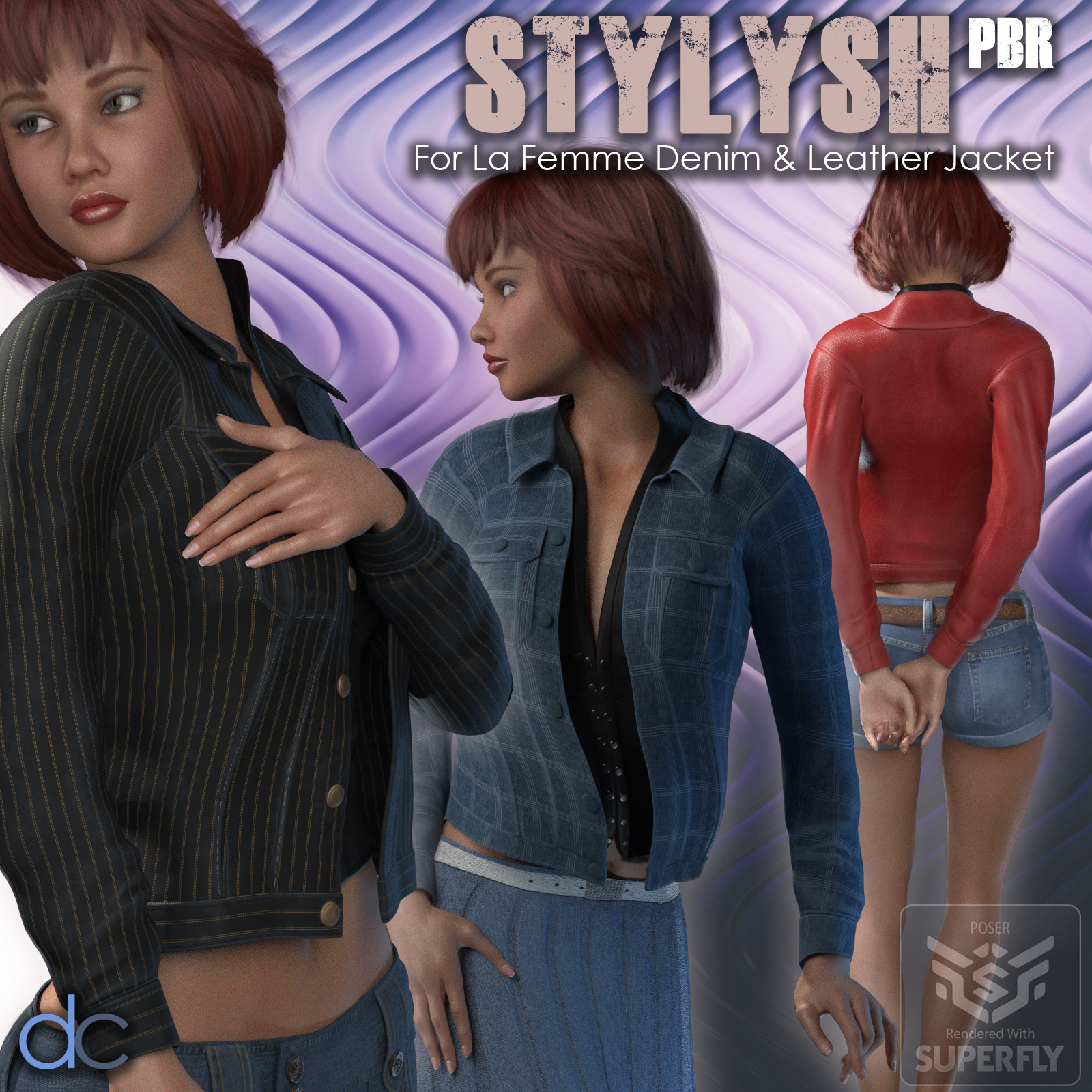 Stylish PBR for La Femme Denim and Leather Jacket by Deecey