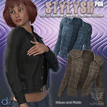 Stylish PBR for La Femme Denim and Leather Jacket image 1