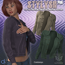 Stylish PBR for La Femme Denim and Leather Jacket image 2