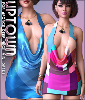 Uptown for dForce Deep Neck Mini Dress G8F 3D Figure Assets Sveva