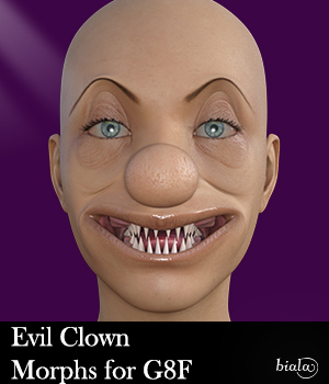 Evil Clown Morphs for G8F 3D Figure Assets biala