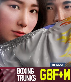 Boxing Trunks G8Pack for Genesis 8 Female and Male 3D Figure Assets gravureboxing