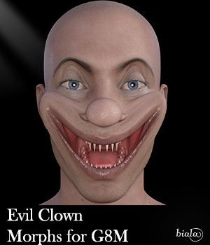 Evil Clown Morphs for G8M 3D Figure Assets biala