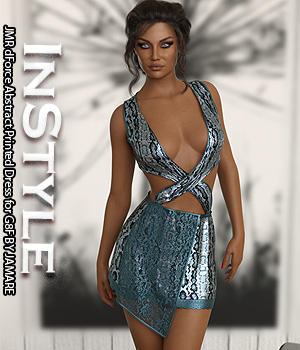 InStyle - JMR dForce Abstract Printed Dress for G8F 3D Figure Assets -Valkyrie-