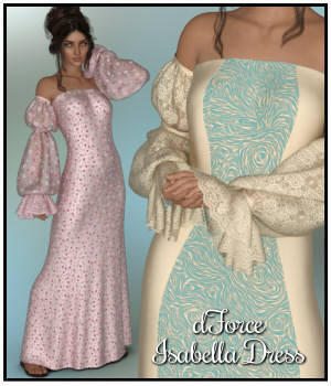 dForce - Isabella Dress for G8F 3D Figure Assets Lully