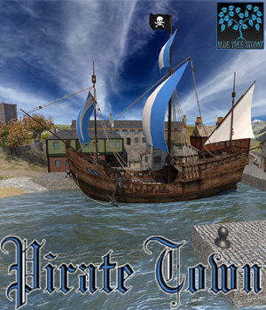 Pirate Town for Poser 3D Models BlueTreeStudio