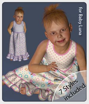 Milly Dress and 7 Styles for Baby Luna 3D Figure Assets karanta