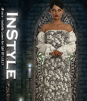 InStyle - dForce - Isabella Gown for G8F 3D Figure Assets -Valkyrie-