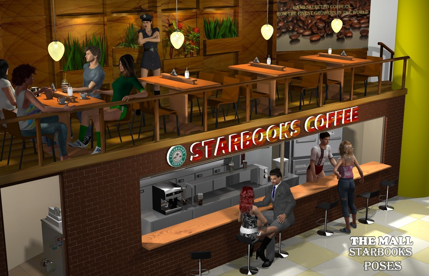 The Mall Starbooks poses by greenpots