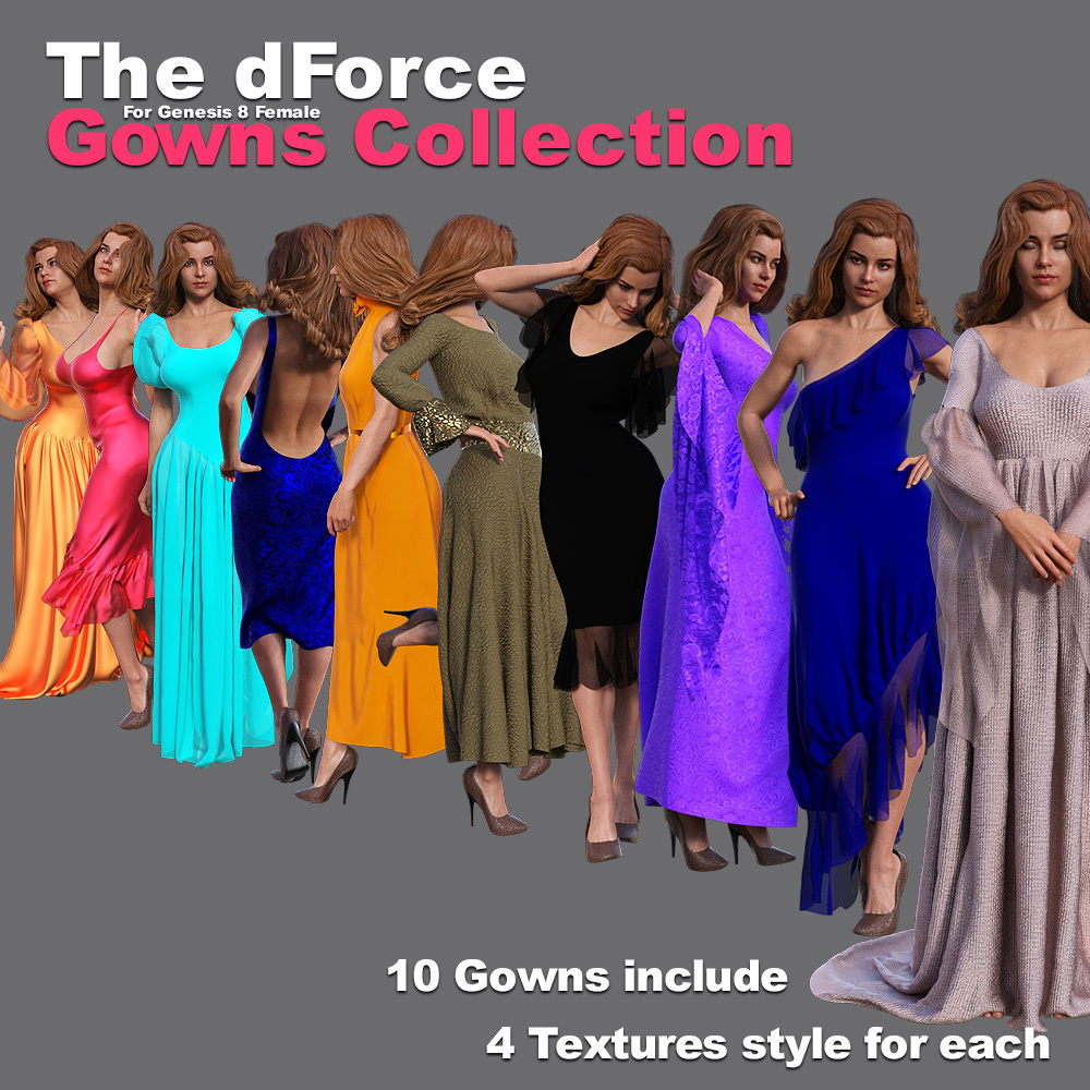 The dForce Gowns Collection for G8F by powerage