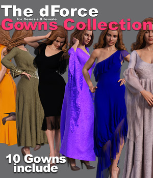 The dForce Gowns Collection for G8F 3D Figure Assets powerage