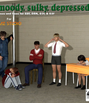 Moody Sulky Depressed Poses For Genesis 3 and Genesis 8 figures 3D Figure Assets AcePyx