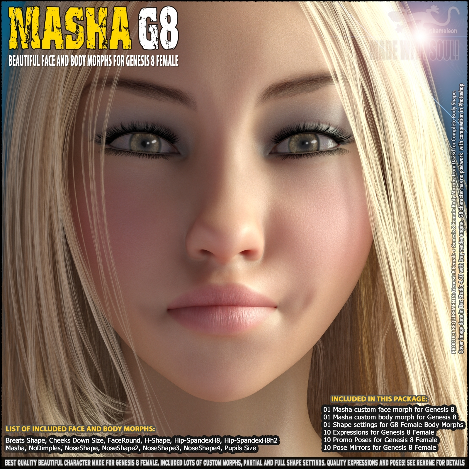 Masha - Beautiful Face and Body morphs for Genesis 8