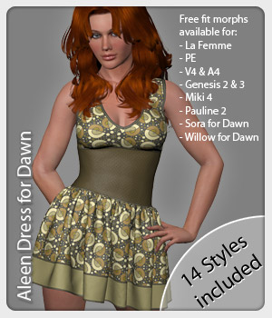 Aleen Dress and 14 Styles for Dawn 3D Figure Assets karanta