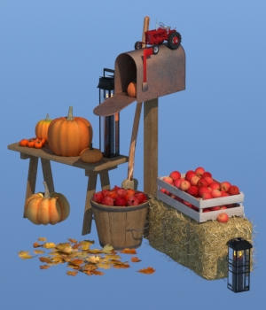 Autumn Decor Bundle 1 - OBJ 3D Models forester