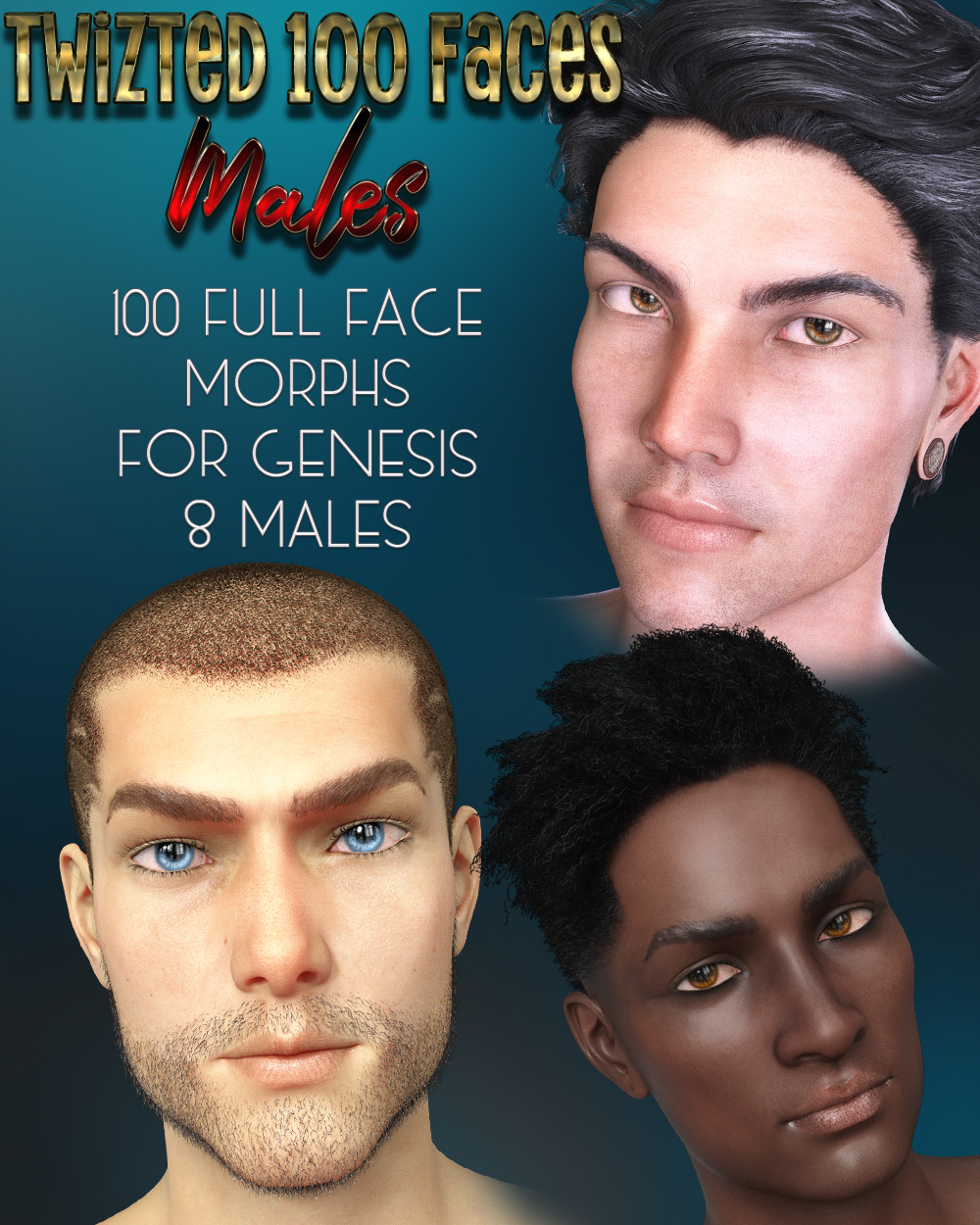 Twizted 100 Faces Males for Genesis 8 Males by TwiztedMetal