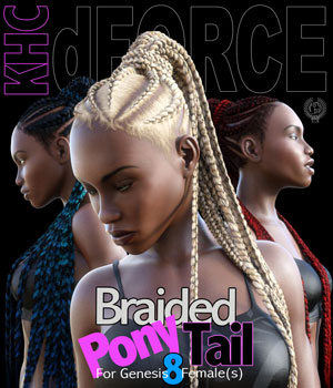 KHC - Braided Pony Tail For Genesis 8 Females 3D Figure Assets samsil