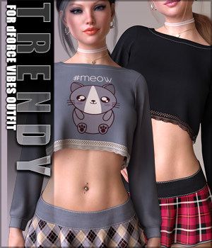 Trendy for dForce Vibes Outift G8F 3D Figure Assets Sveva