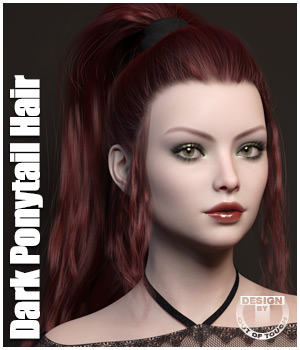 Dark Ponytail Hair for Genesis 3 and 8 Female 3D Figure Assets outoftouch