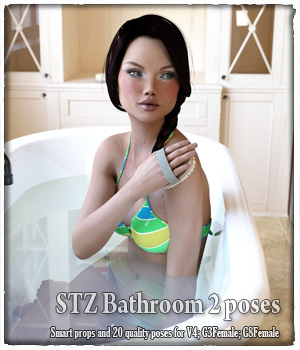STZ Bathroom 2 poses 3D Figure Assets santuziy78