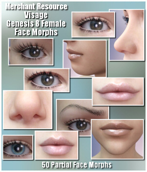 Visage Face Morphs for G8F 3D Figure Assets Merchant Resources Lully