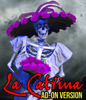 El Dia de Los Muertos - La Catrina for Mr Bones or V4 ADD ON 3D Figure Assets 3D Models Cybertenko