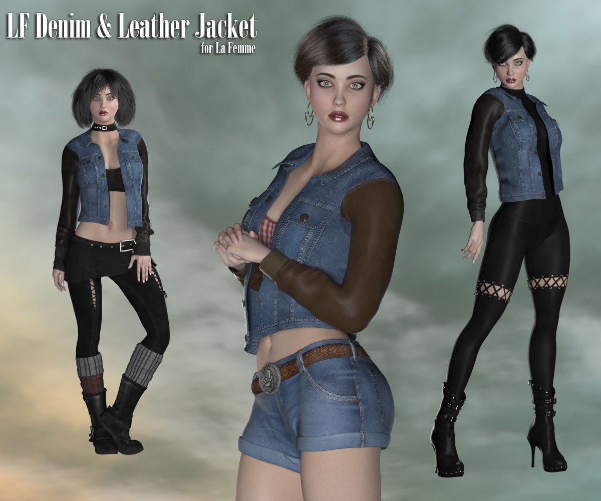 Denim and Leather Jacket for La Femme by RPublishing
