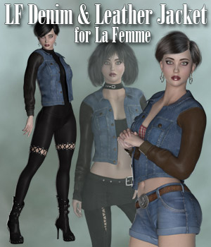 Denim and Leather Jacket for La Femme 3D Figure Assets La Femme Pro - Female Poser Figure RPublishing
