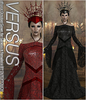 VERSUS - dForce October Gown for Genesis 8 Females 3D Figure Assets Anagord