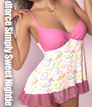 dforce Simply Sweet Nightie 3D Figure Assets Calico