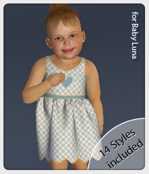 Gilly Dress and 14 Styles for Baby Luna 3D Figure Assets karanta