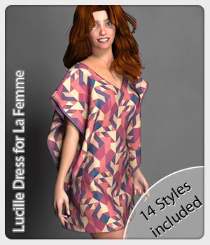 Lucille Dress and 14 Styles for La Femme 3D Figure Assets La Femme Pro - Female Poser Figure karanta
