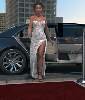 Dawn Red Carpet Gown 3D Figure Assets Glitterati3D