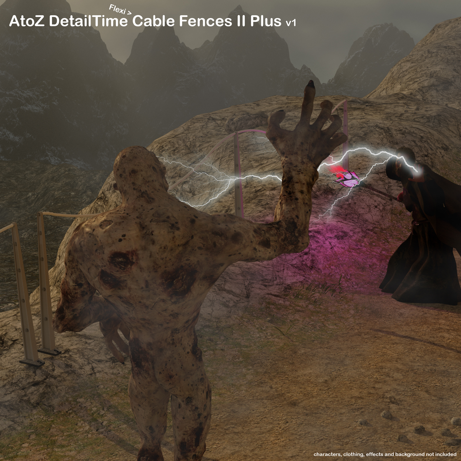 AtoZ DetailTime Cable Fences II v1 for Poser with OBJs by AtoZ