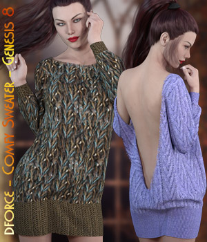 dforce - Comfy Sweater - Genesis 8 3D Figure Assets kaleya