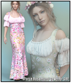 dForce - Rosamund Gown for G8F 3D Figure Assets Lully