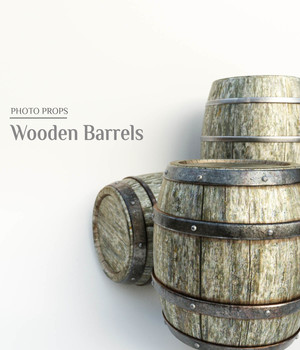 Photo Props: Wooden Barrels - Extended License 3D Models Extended Licenses ShaaraMuse3D