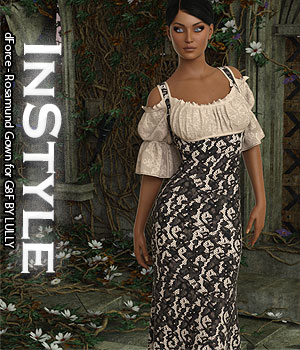 InStyle - dForce - Rosamund Gown for G8F 3D Figure Assets -Valkyrie-