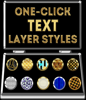 One-Click TEXT PS Layer Styles 2D Graphics Merchant Resources fractalartist01
