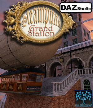 Steampunk Grand Station for Daz 3D Models BlueTreeStudio