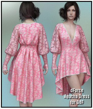 dForce - Agatha Dress for G8F 3D Figure Assets Lully