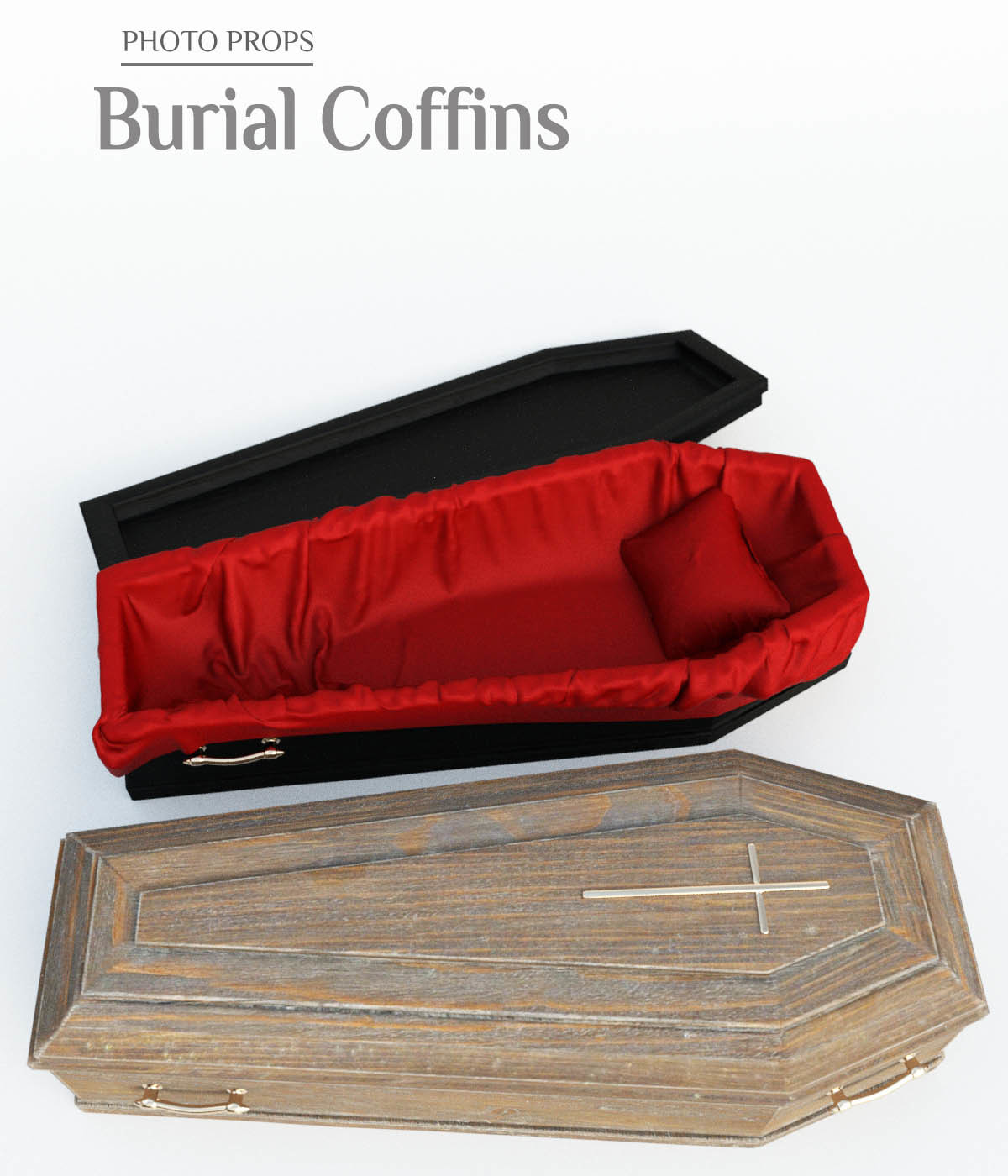 Photo Props: Burial Coffins - Extended License by ShaaraMuse3D