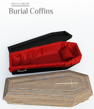 Photo Props: Burial Coffins - Extended License 3D Models Extended Licenses ShaaraMuse3D