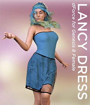 Lancy Dress for Genesis 8 Female 3D Figure Assets Mella_via