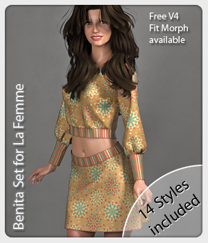 Benita Set and 14 Styles for La Femme 3D Figure Assets La Femme Pro - Female Poser Figure karanta
