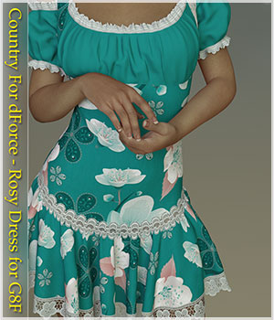 Country For dForce - Rosy Dress for G8F 3D Figure Assets Belladzines