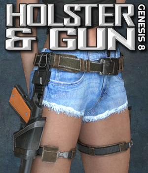 Exnem Holster & Gun for Genesis 8 Female 3D Figure Assets 3D Models exnem