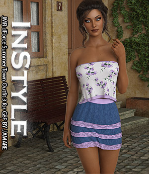 InStyle - JMR dForce Summer Town Outfit 3 for G8F 3D Figure Assets -Valkyrie-