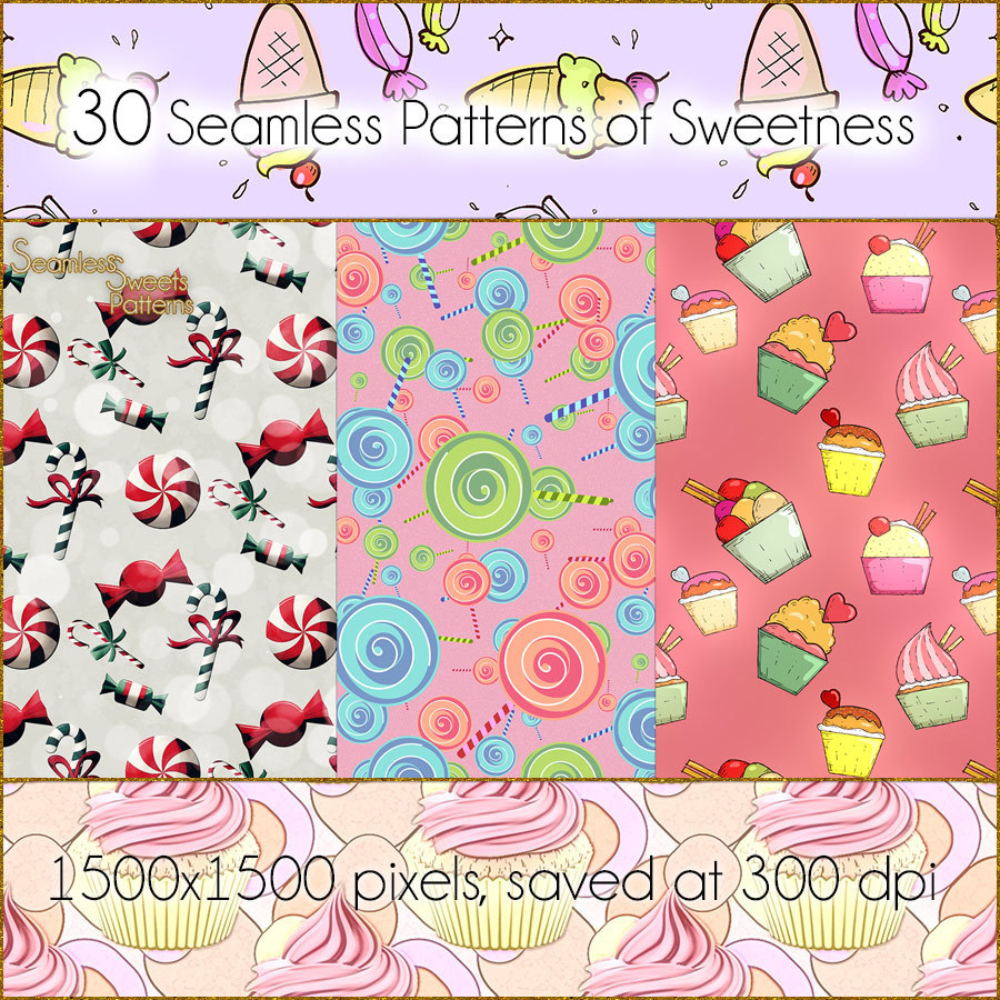Seamless Sweets Patterns by antje