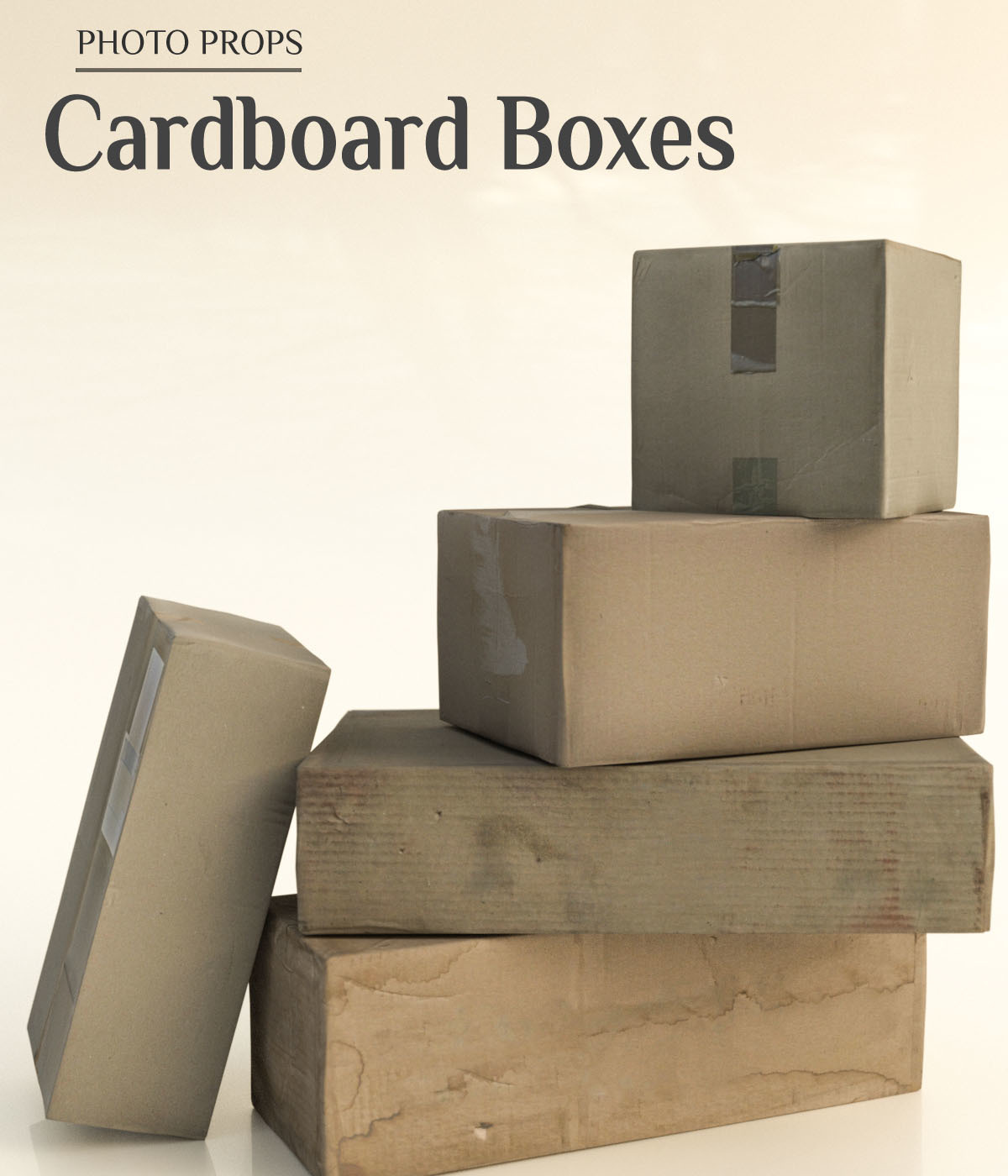 Photo Props: Cardboard Boxes - Extended License by ShaaraMuse3D